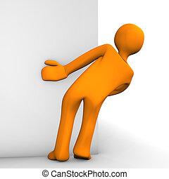 Stalker - Orange cartoon as stalker on the white background.