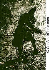 stalker, en, careta antigás, armado, con, arma de fuego, en, calabozo