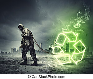 Stalker in gas mask - Man in respirator against catastrophe...
