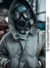 Stalker in gas mask, radiation danger