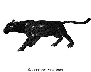 Stalking black panther - 3D rendered image of Black panther...