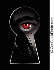 Stalking - Illustration of eye looking through from keyhole