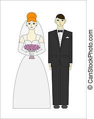 stalknecht., ang, paar., illustratie, bruid, vector, trouwfeest