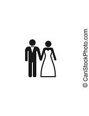 stalknecht., paar, getrouwd, bruid, trouwfeest, icon.