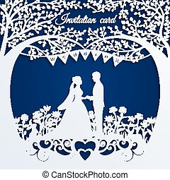 stalknecht., silhouette, trouwfeest, bruid, uitnodigingskaart
