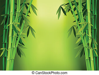 Vector images of stalks of bamboo