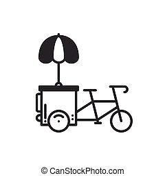 stall., alimento, delgado, icon., móvil, bicycle., calle, vector, aislado, rápido, triciclo, lineal, venta al por menor, quiosco, tranvía, negro, línea, plano, comercio, illustration., symbols., cart., estilo, bicicleta, rueda, tienda, café