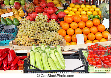 Stall market - Market stall with fresh fruits and vegetables