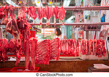 Stall selling pork in the market