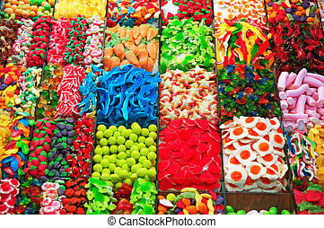 Stall with sweets at Boqueria Market in Barcelona.