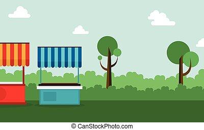 stalle, rue, paysage arbre, fond