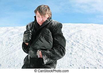 stalletjes, aktentas, winter, sneeuw, houden, vingers, kerel, gebaar, optredens