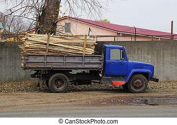 stalletjes, brandhout, vrachtwagen, straat