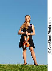 stalletjes, meisje, hemel, viool, tegen, gras