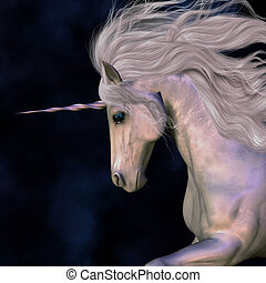 Stallion - A white buck unicorn's horn has a beautiful pink...