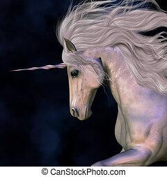A white buck unicorn's horn has a beautiful pink glow.