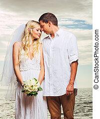 stallknecht, sandstrand, romantische , gerecht, paar, verheiratet, braut, neu