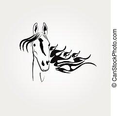 stallone, logotipo, cavallo