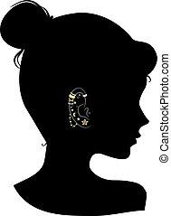 stalloni, ragazza, orecchio, silhouette, illustrazione