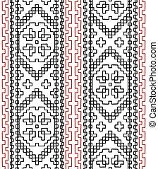 stam, etnisk, seamless, mönster