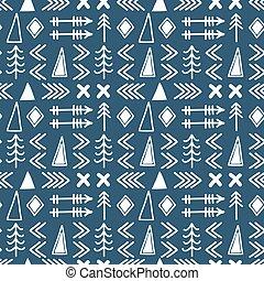 stam, hand, oavgjord, bakgrund., aztekisk, abstrakt, geometrisk, konst, print., geometrisk, etnisk, seamless, mönster