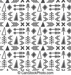 stam, hand, oavgjord, bakgrund., geometrisk, etnisk, seamless, pattern., aztekisk, abstrakt, geometrisk, konst, tryck