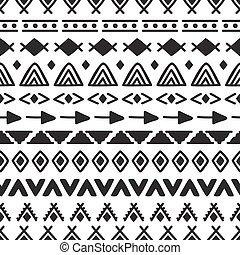 stam, seamless, mönster, med, klotter, elements., abstrakt, geometrisk, konst, print., hand, oavgjord, etnisk, bakgrund