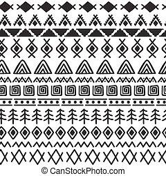 stam, seamless, mönster, med, klotter, elements., abstrakt, geometrisk, print., hand, oavgjord, etnisk, bakgrund