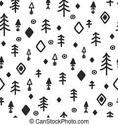 stam, seamless, mönster, med, skiss, elements., abstrakt, geometrisk, konst, print., hand, oavgjord, etnisk, bakgrund