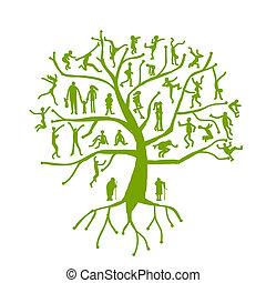 stamboom, familie, mensen, silhouettes