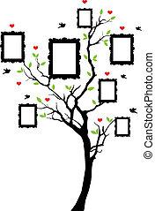 stamboom, met, lijstjes, vector
