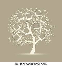stamboom, ontwerp, tussenvoegsel, jouw, foto's, in, lijstjes