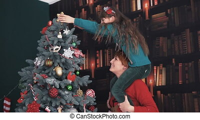 stamboom, op, jurkje, kerstmis, vrolijke