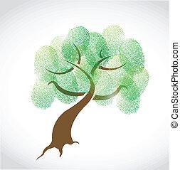 stamboom, vingerafdruk, illustratie, ontwerp