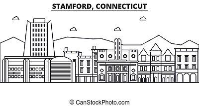 Stamford, Connecticut architecture line skyline illustration...