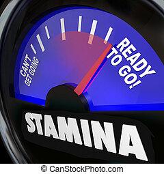 stamina, driva, energi, färd, ökning, mätare, drivmedel