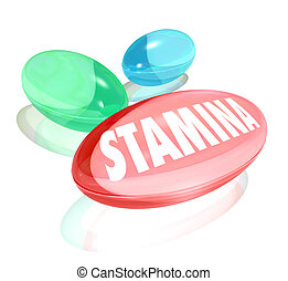 The word Stamina on a red capsule or pill to illustrate increased sex drive or long lasting power to achieve your goal and improve your life