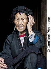 stamm, hong, frau, altes , ethnisch, yao, jahr, 96