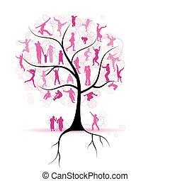 stammbaum, verwandte, leute, silhouetten