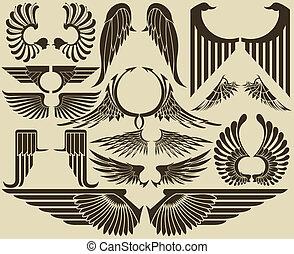 stamme, sæt, vinger