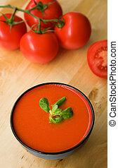 stammend, gebied, zuidelijk, soep, spaanse , tomato-based, ...