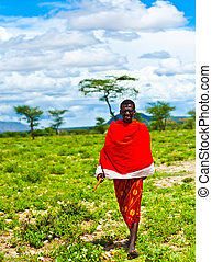 stammes-, afrikanischer mann