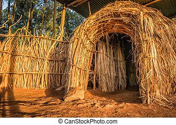 stammes-, haus, traditionelle , ländlich, kenia, kenianer, nairobi