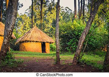 stammes-, haus, traditionelle , ländlich, kenianer, nairobi, kenia, bomas