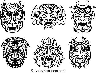 stammes-, religiöses, stil, masken