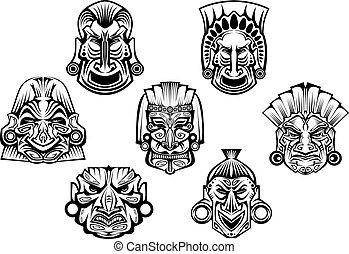 stammes-, uralt, religiöses, masken