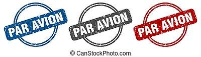 stamp., 対 avion, ラベル, セット, 印。