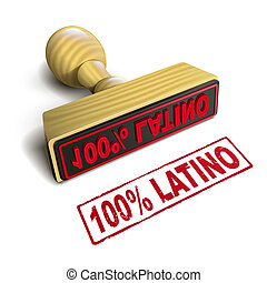 stamp 100% latino with red text on white
