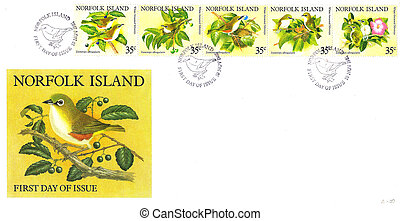 NORFOLK ISLAND - CIRCA 1981: A stamp series printed in Norfolk Island on First Day of Issue Envelope shows White-breasted Silvereye Birds, circa 1981