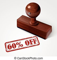 stamp 60 percent off in red text on white